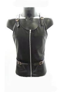 15. svart fuskskinn linne med spännen