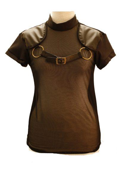 42. svart genomskinlig fram tshirt med ringar på sidorna och spänne