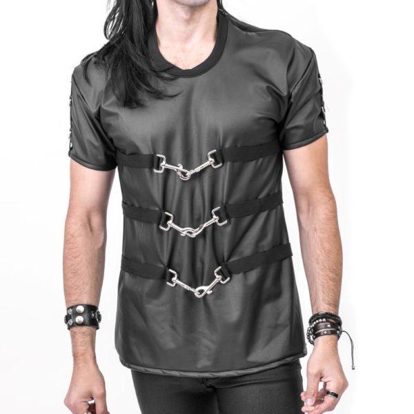 11.svart fuskskinn tshirt med 3 spännen framtill