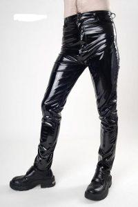 9. svarta lack byxor hög midja, 4 ficks modell